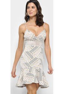Vestido Carmim Sino Curto Louise De Alcinha - Feminino-Creme+Branco