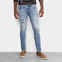 74e362da7a Calça Jeans Skinny Opera Rock Destroyed Clara Masculina - Masculino-Azul