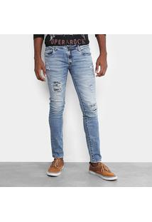 Calça Jeans Skinny Opera Rock Destroyed Clara Masculina - Masculino-Azul