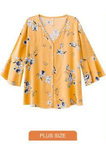 Blusa Tecido Com Estampa Floral Delicada Amarelo