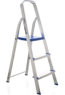 Escada Domestica Mor Aluminio Preta 3 Degraus