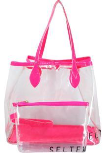 Bolsa Transparente Neon Pink Com Necessaire Selten