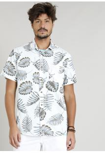 Camisa Masculina Estampada De Folhas Manga Curta Gola Esporte Off White