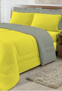 Edredom Solteiro Casa Modelo Dupla Face Malha 100% Algodão 1 Peça - Amarelo/Cáqui