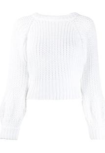 Maison Flaneur Suéter Cropped De Tricô - Branco