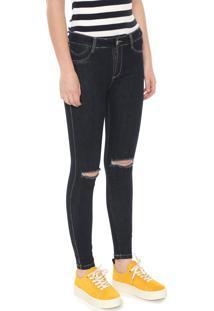 Calça Jeans Sawary Skinny Destroyed Push Up Azul-Marinho