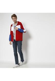 Jaqueta Com Recortes & Capuz - Vermelha & Brancalevis