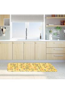 Tapete De Cozinha Mdecore Galhos Amarelo 40X120Cm