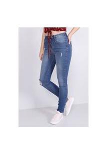 Calça Jeans Cigarrete Cintura Média Dirty Rasgos Gang Feminina