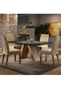 Conjunto Sala De Jantar Madesa Erica Mesa Tampo De Vidro Com 4 Cadeiras Marrom - Tricae