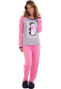 Pijama Feminino Inverno Pinguim Luna Cuore Mescla M