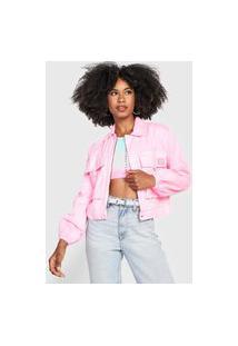 Jaqueta Sarja Lança Perfume Ampla Color Rosa