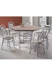 Conjunto De Mesa E 6 Cadeiras Suíça Móveis Brastubo Cromado/Linho Marrom