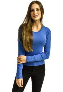 Camiseta Nakia Manga Longa Básica Feminina Lisa Malha Azul Royal - Kanui
