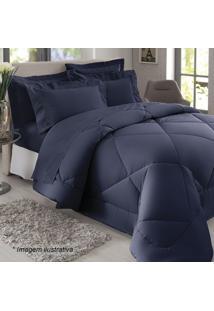 Edredom Liso Queen Size- Azul Escuro- 250X260Cm-Sultan