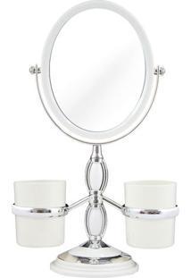 Espelho Com Suporte Laterais- Espelhado & Prateado- Jacki Design