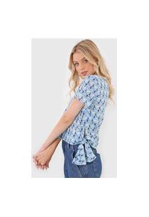 Blusa Gris Geométrica Azul