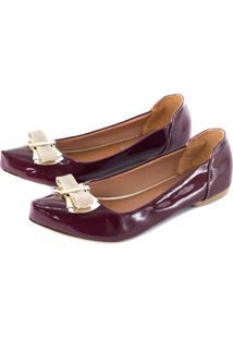 Sapatilha Alta Villa Shoes Bico Fino Bordô
