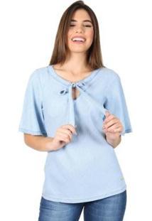 Blusa Latifundio Laço Feminina - Feminino-Azul