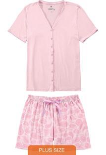 Pijama Rosa Plus Size Paisley Com Cetim