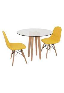 Conjunto Mesa De Jantar Em Vidro 90Cm Com Base Vértice + 2 Cadeiras Botonê - Amarelo