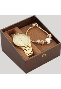 Kit De Relógio Analógico Mondaine Feminino + Pulseira - 99362Lpmvde1K Dourado - Único
