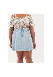 Saia Jeans Com Pregas Curve & Plus Size | Ashua Curve E Plus Size | Azul | 54