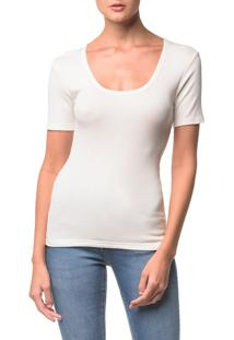 Blusa Ckj Fem Mc Viscose Bordado - Off White - P