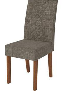 Cadeira Olímpia 2 Peças - Rústico Terrara Com Linho Bronze