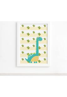 Quadro Infantil Dinossauro Baby 2 Turquesa 33X43 Moldura Branca