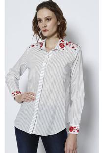 Camisa Com Bordado- Off White & Azultvz