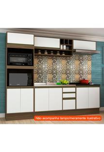 Cozinha Compacta Safira 9 Pt 3 Gv Branca E Avelã