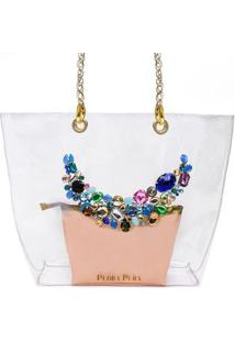 Bolsa Pedra Pura Pedraria Multicolor Feminina - Feminino-Rosa+Dourado