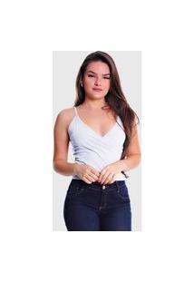 Blusa Transpassada Alcinha Plus Size Lynnce Branco
