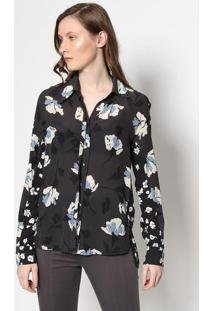 Camisa Belle Em Seda - Cinza & Azulle Lis Blanc