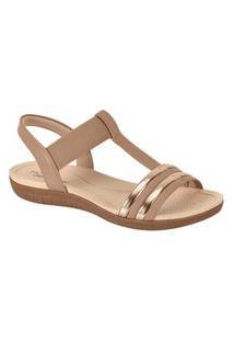 Sandalia Feminina Ultra Conforto Nude/Ouro Rosado Modare 7125.228