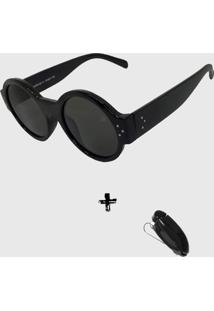 Oculos De Sol Feminino Redondo Volpz Londres Preto + Suporte Veicular