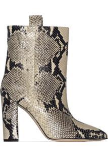 Paris Texas Ankle Boot Com Efeito Pele De Cobra 100Mm - Neutro