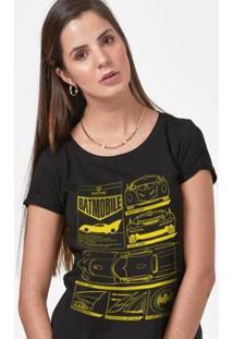 Camiseta Batman Batmóvel Blueprint Feminina - Feminino-Preto