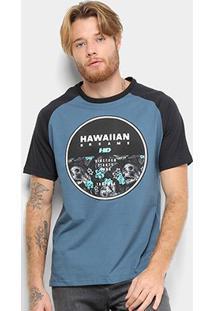 Camiseta Hd Raglan Darkest Masculina - Masculino-Azul Escuro