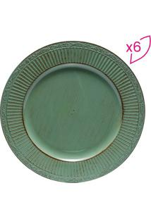 Jogo De Sousplat Listrado Arabesco- Verde & Marrom- Bon Gourmet
