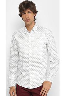 Camisa Manga Longa Colcci Slim Micro Estampa Masculina - Masculino