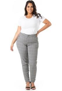 Calça Feminina Xadrez Plus Size - Feminino-Cinza