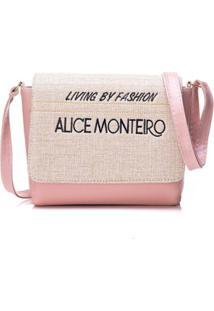 Bolsa Alice Monteiro Com Tampa Frase - Feminino-Rosa