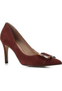 Scarpin Couro Shoestock Salto Alto Nobuck Fivela Marmorizada - Feminino-Tabaco