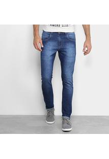 Calça Jeans Skinny Opera Rock Estonada Masculina - Masculino-Azul