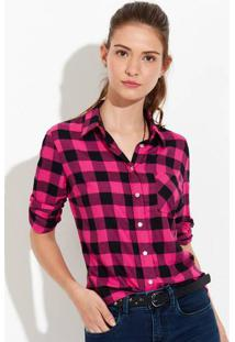 Camisa Feminina Em Tecido De Viscose Xadrez