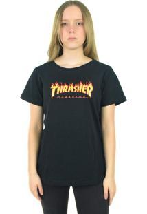 Camiseta Thrasher Magazine Flame Logo Preta