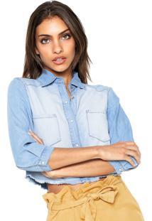 Camisa Jeans Lez A Lez Estonada Azul