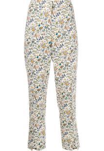 Liberty London Calça Cropped Maisie Liddell Com Estampa - Branco